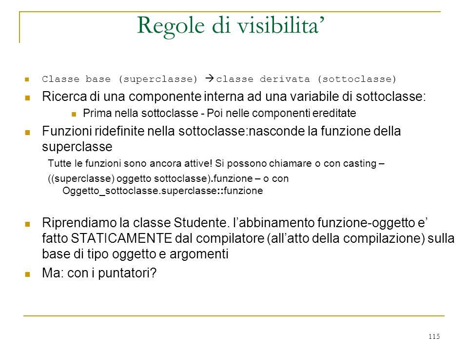 Regole di visibilita' Classe base (superclasse) à classe derivata (sottoclasse) Ricerca di una componente interna ad una variabile di sottoclasse: