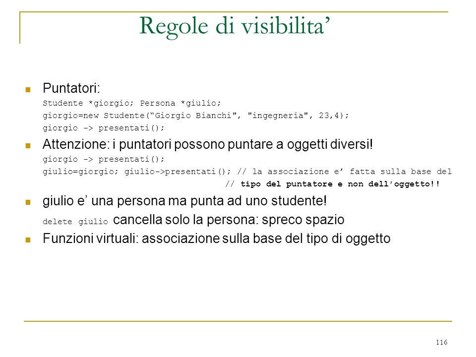 Regole di visibilita' Puntatori: