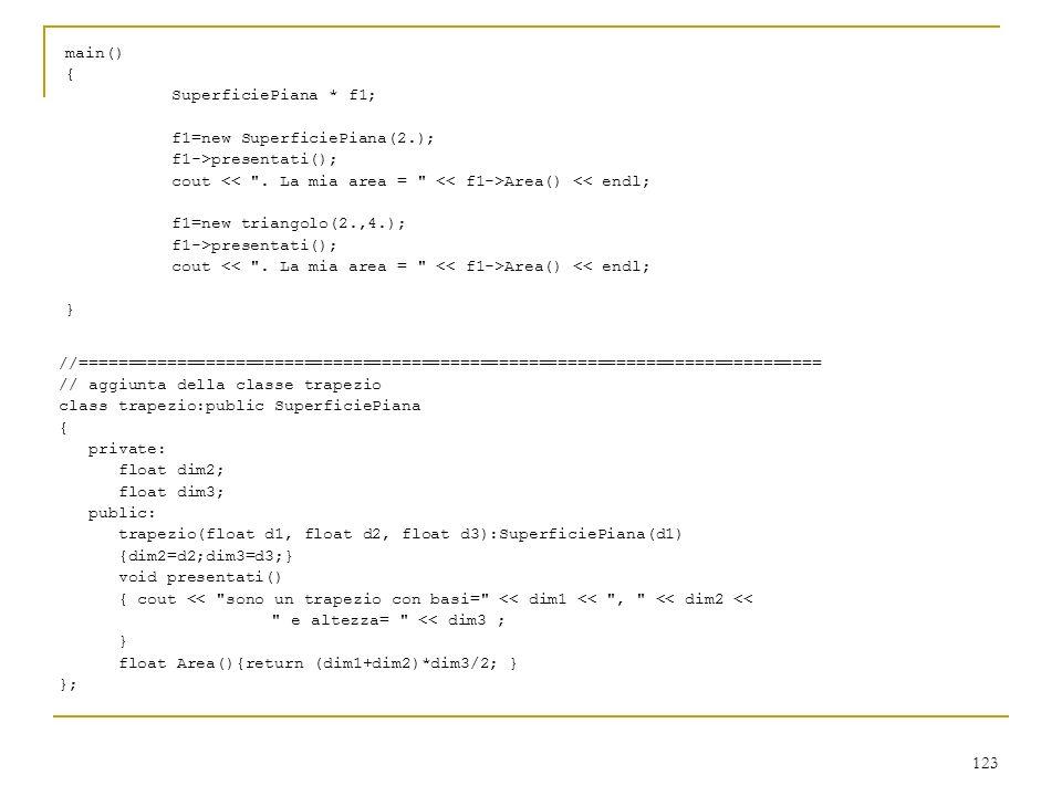 main() { SuperficiePiana * f1; f1=new SuperficiePiana(2.); f1->presentati(); cout << . La mia area = << f1->Area() << endl;