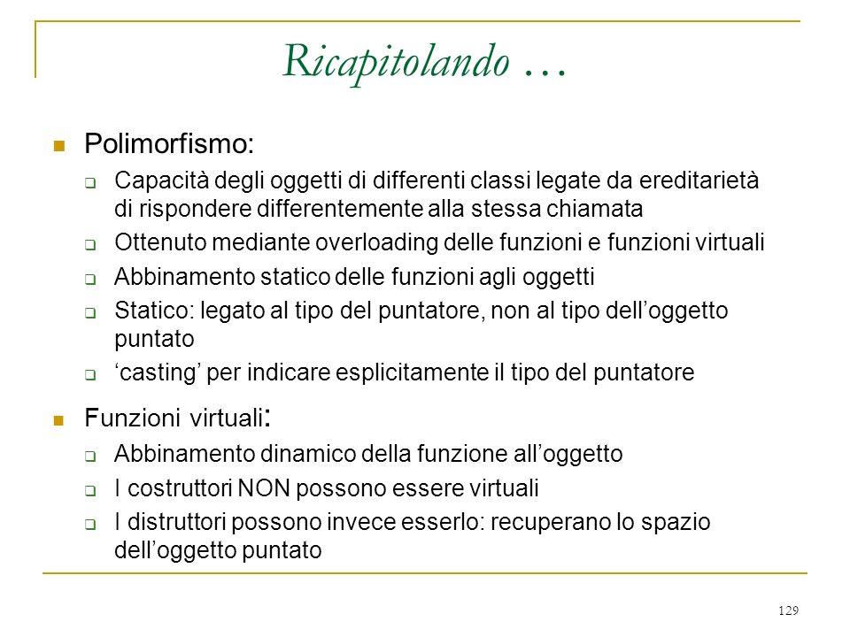 Ricapitolando … Polimorfismo: Funzioni virtuali: