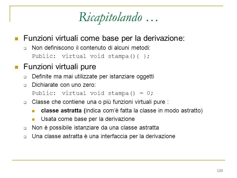 Ricapitolando … Funzioni virtuali come base per la derivazione: