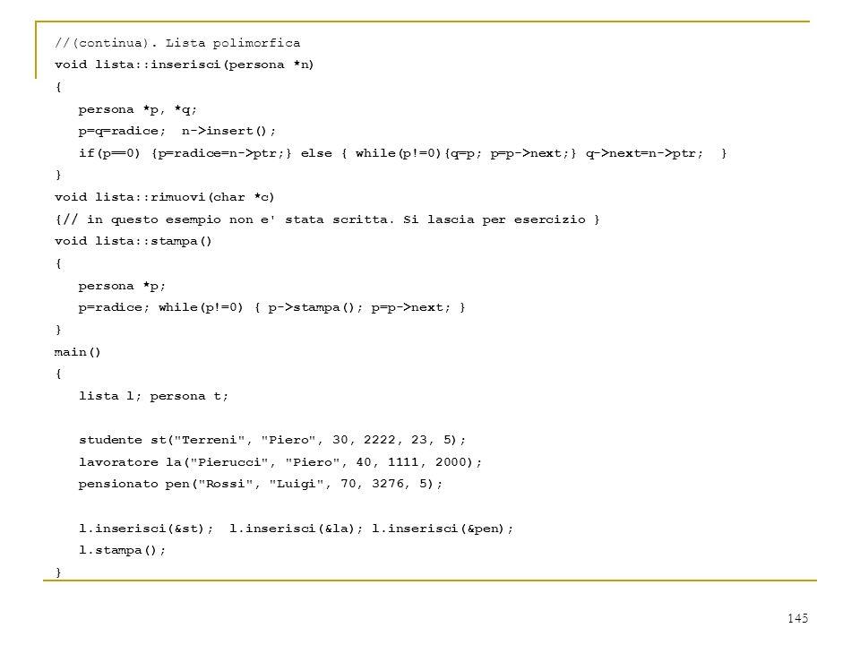 //(continua). Lista polimorfica