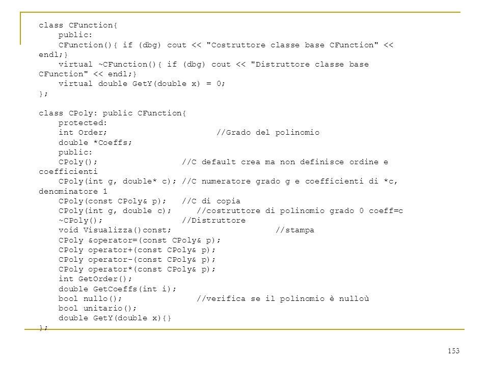 class CFunction{ public: CFunction(){ if (dbg) cout << Costruttore classe base CFunction << endl;}
