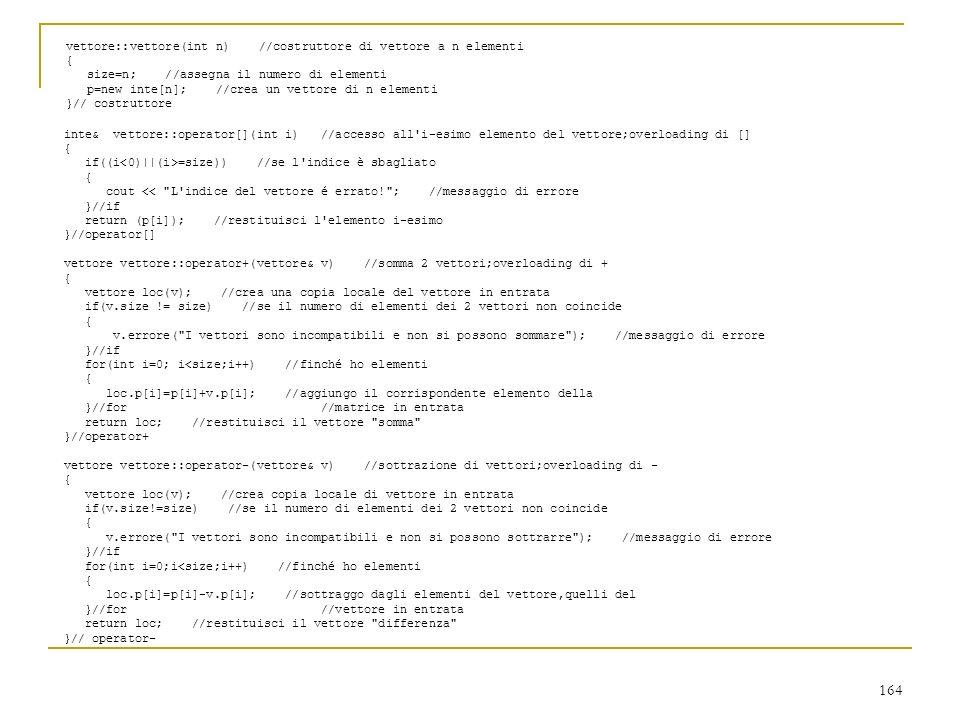 vettore::vettore(int n) //costruttore di vettore a n elementi