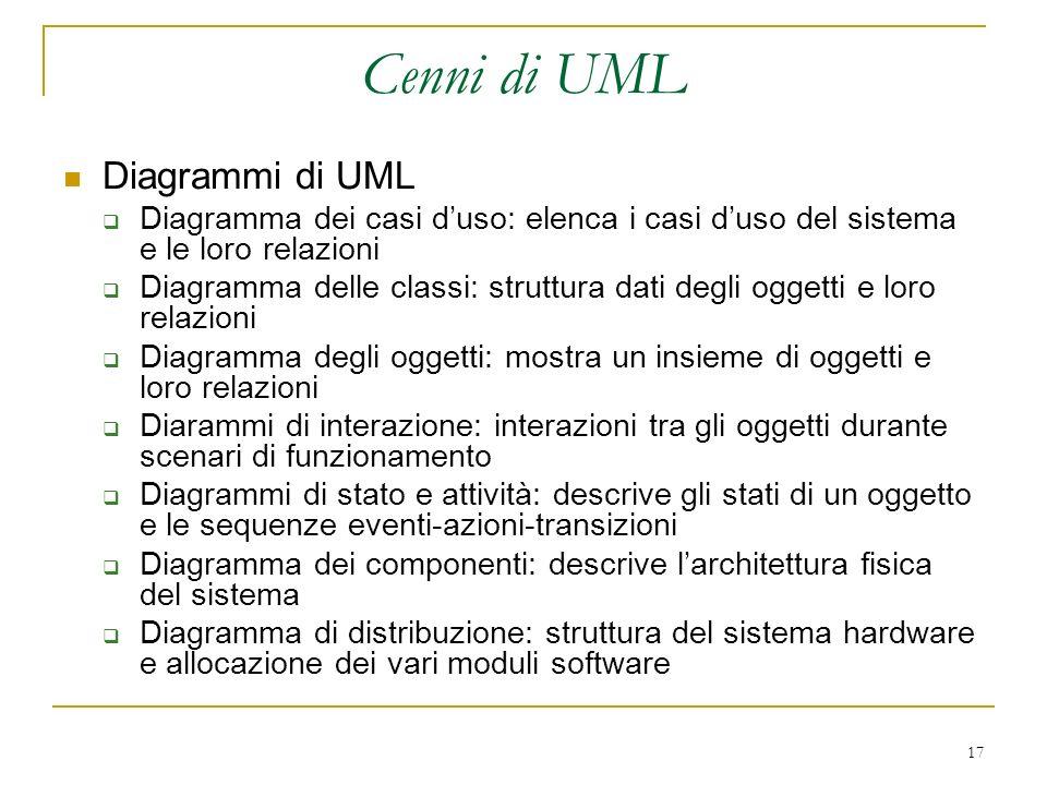 Cenni di UML Diagrammi di UML