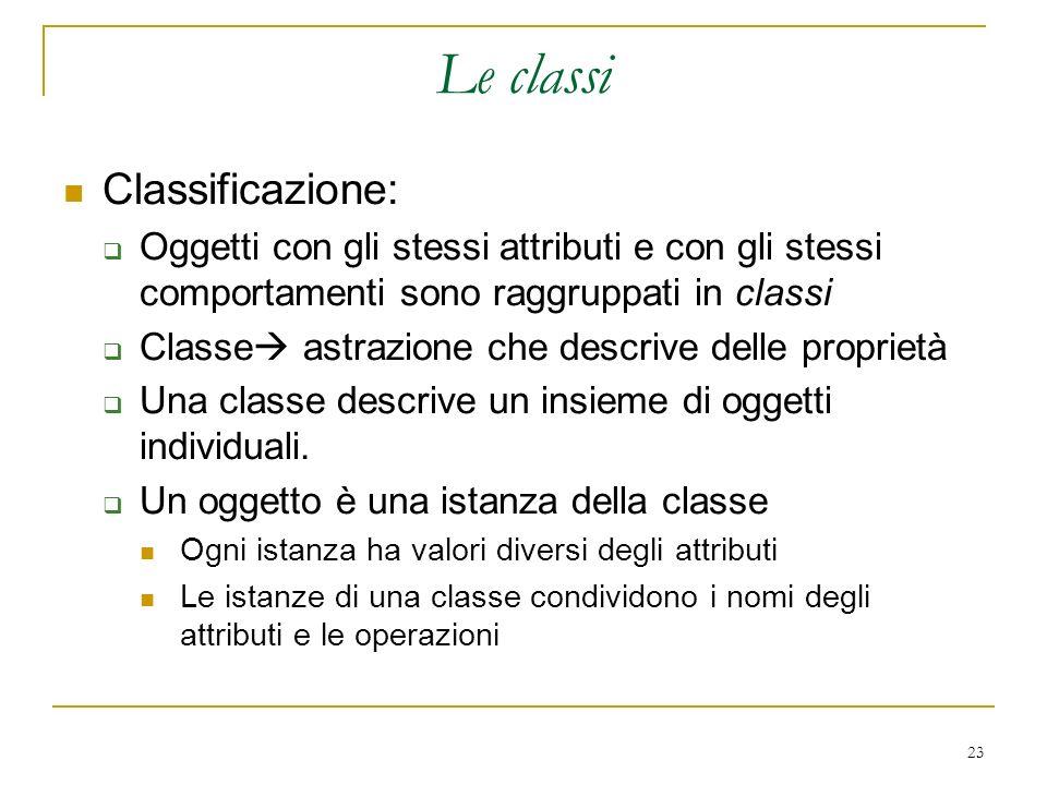 Le classi Classificazione: