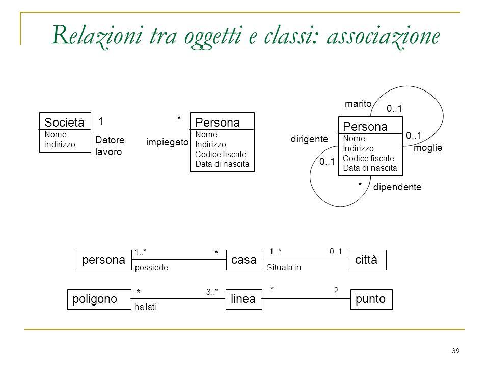 Relazioni tra oggetti e classi: associazione