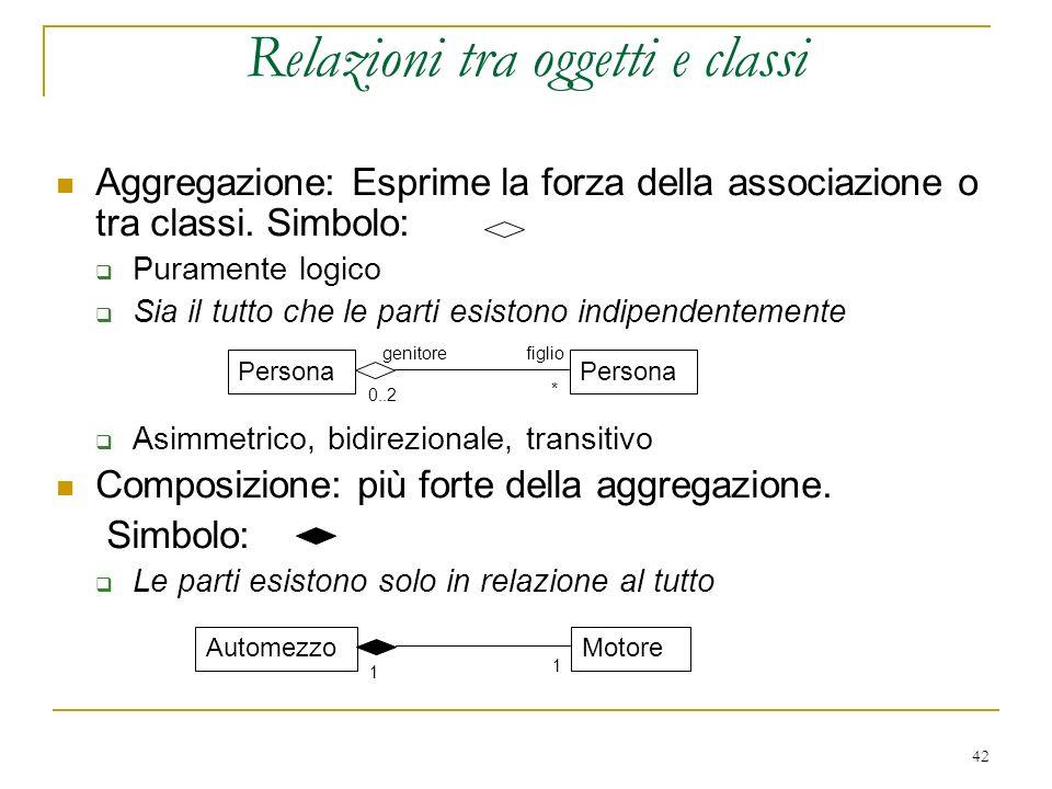 Relazioni tra oggetti e classi