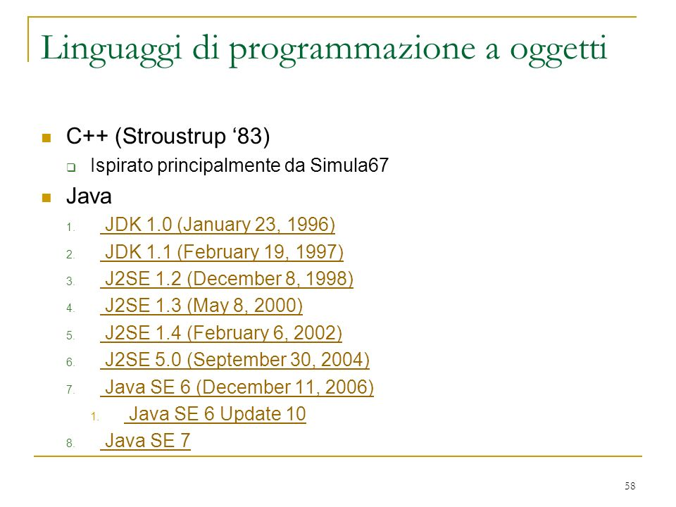 Linguaggi di programmazione a oggetti