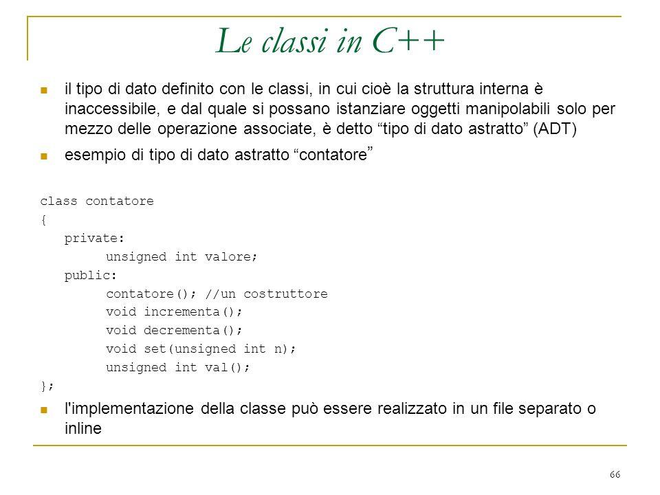 Le classi in C++