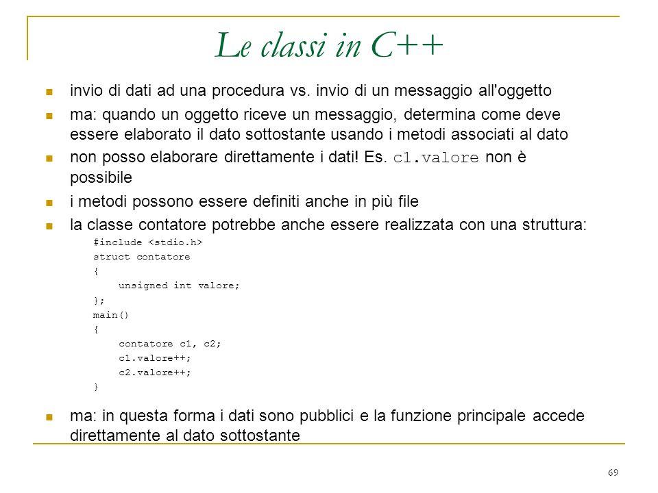 Le classi in C++ invio di dati ad una procedura vs. invio di un messaggio all oggetto.