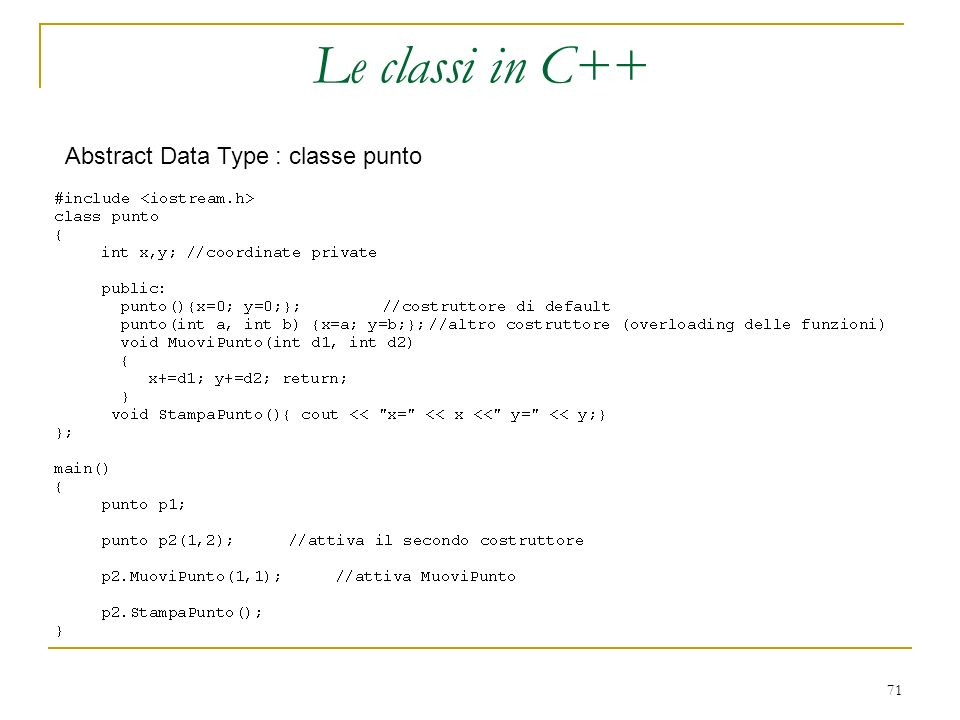 Le classi in C++ Abstract Data Type : classe punto
