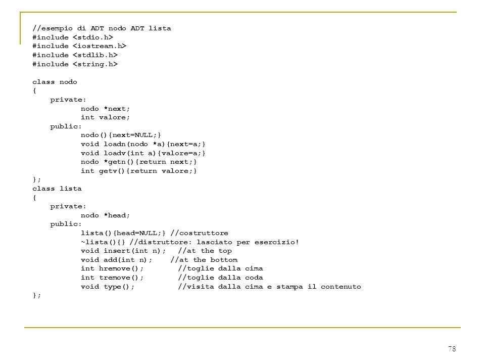 //esempio di ADT nodo ADT lista