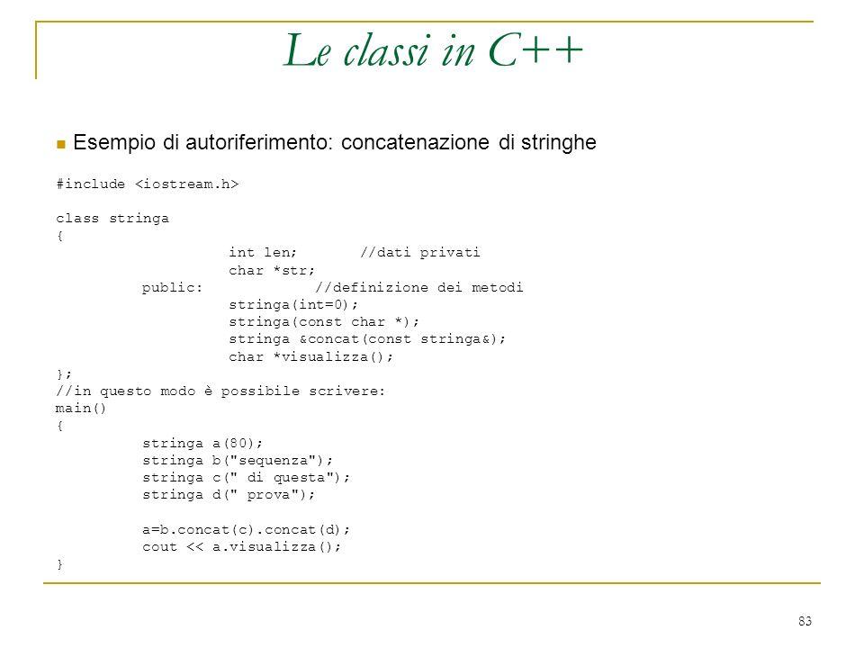 Le classi in C++ Esempio di autoriferimento: concatenazione di stringhe. #include <iostream.h> class stringa.