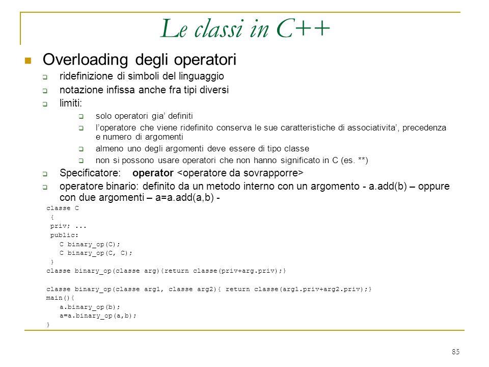 Le classi in C++ Overloading degli operatori