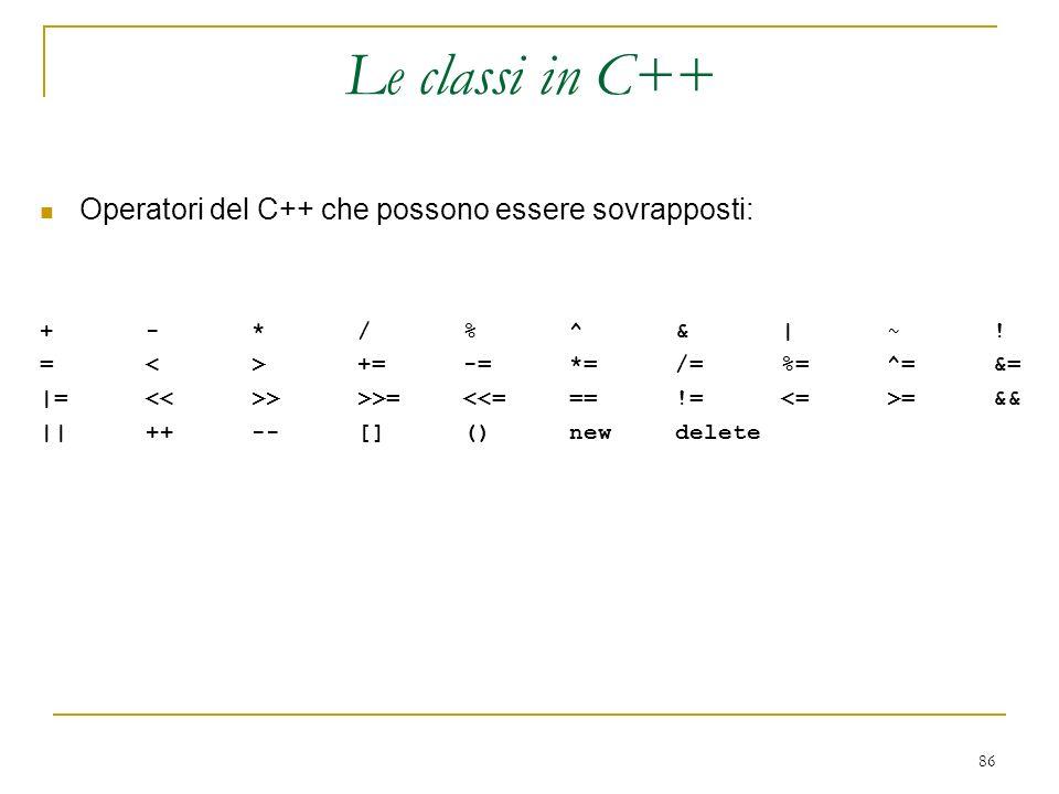 Le classi in C++ Operatori del C++ che possono essere sovrapposti: