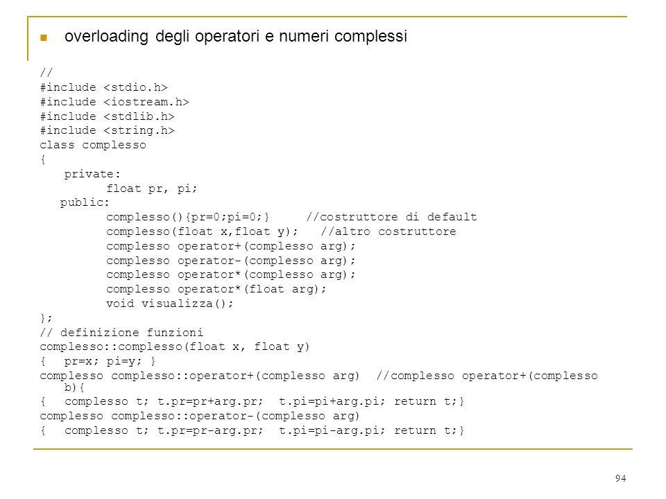 overloading degli operatori e numeri complessi