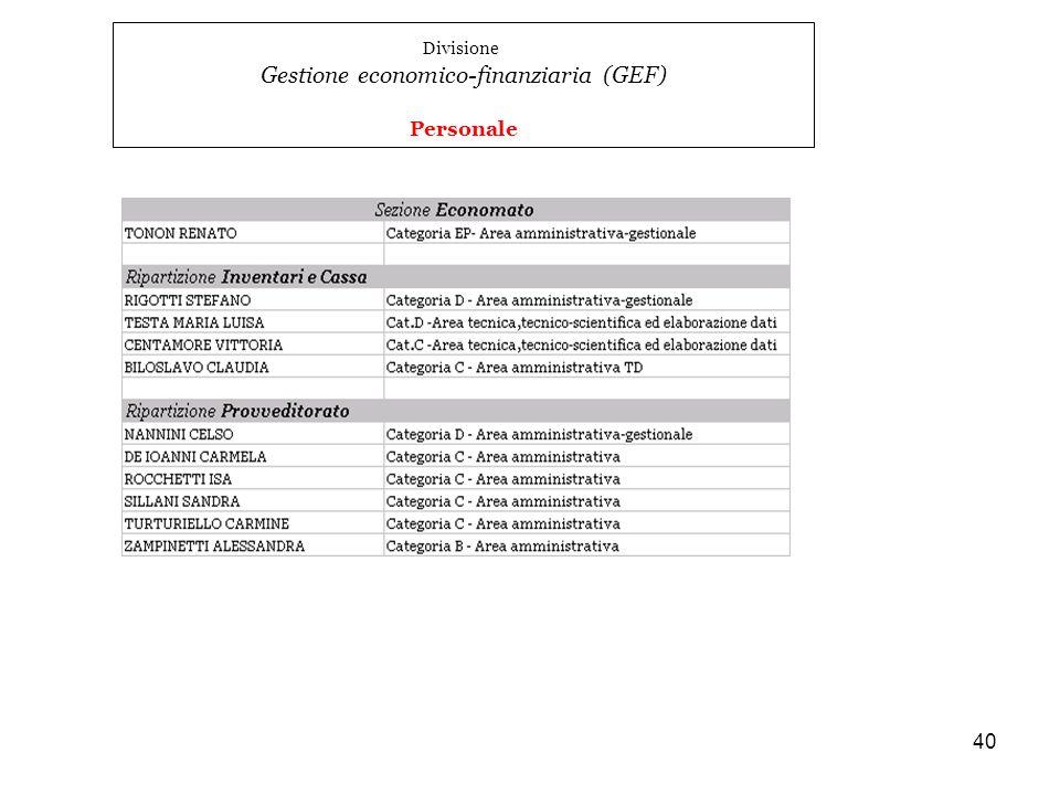 Gestione economico-finanziaria (GEF)