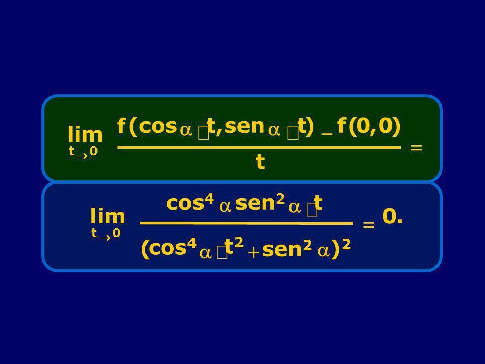 lim t ® f (cos a × , sen ) - ( = lim t ® cos4 a sen2 × t2 + ( )2 = .