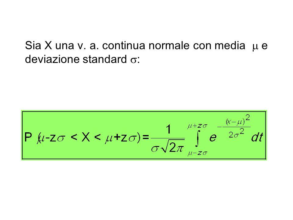 Sia X una v. a. continua normale con media m e deviazione standard s: