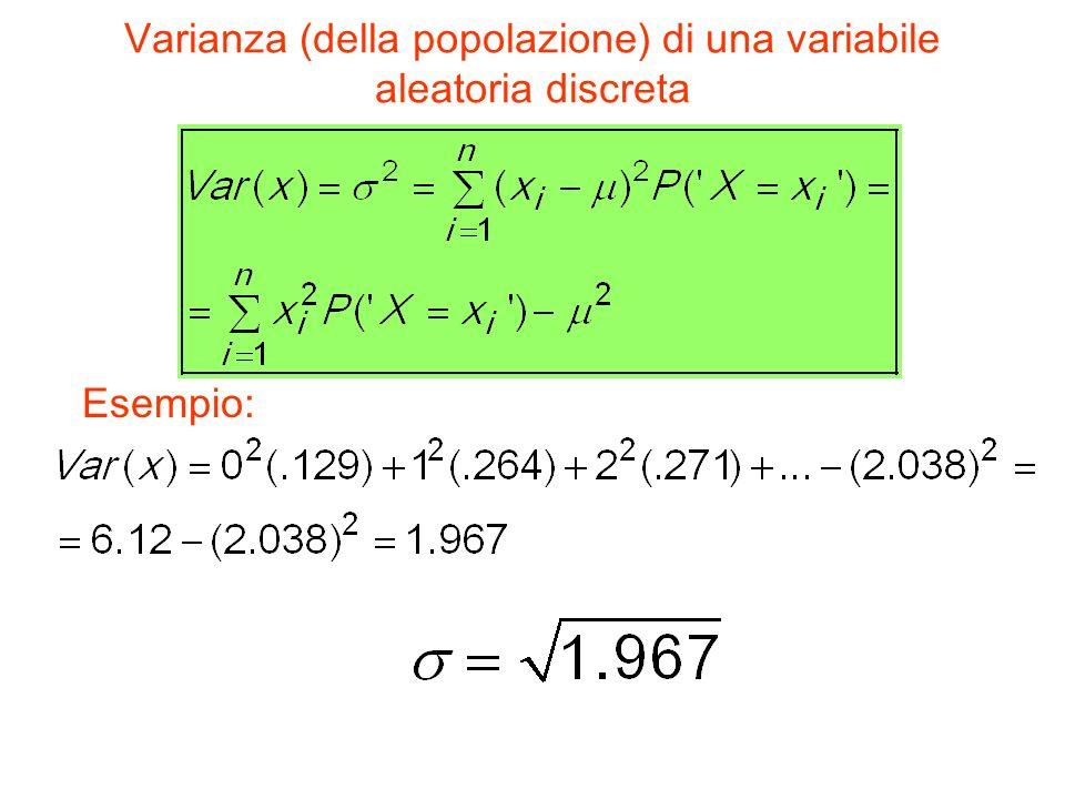 Varianza (della popolazione) di una variabile aleatoria discreta