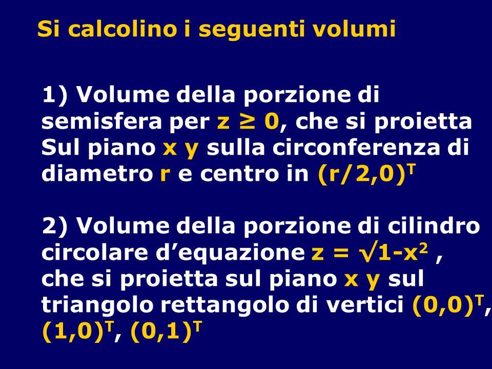 Si calcolino i seguenti volumi