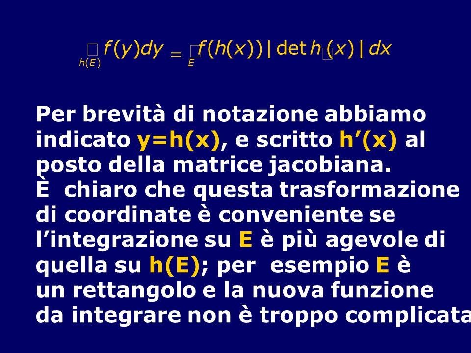 Per brevità di notazione abbiamo indicato y=h(x), e scritto h'(x) al