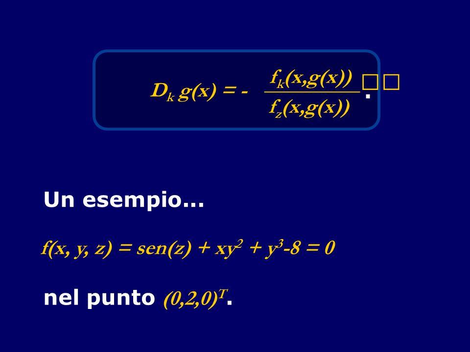 Dk g(x) = - fk(x,g(x)) _________ fz(x,g(x)) . Un esempio... f(x, y, z) = sen(z) + xy2 + y3-8 = 0.