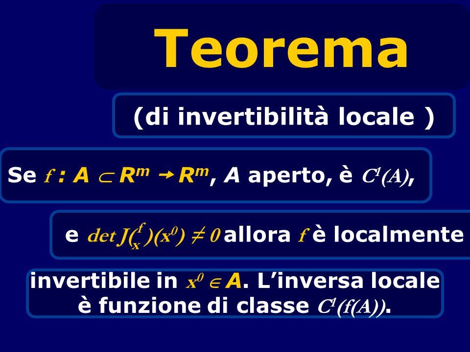 (di invertibilità locale ) Se f : A  Rm  Rm, A aperto, è C1(A),
