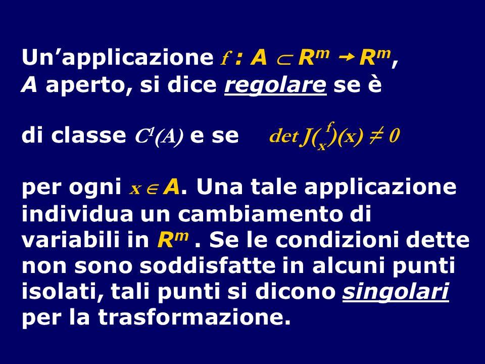Un'applicazione f : A  Rm  Rm, A aperto, si dice regolare se è