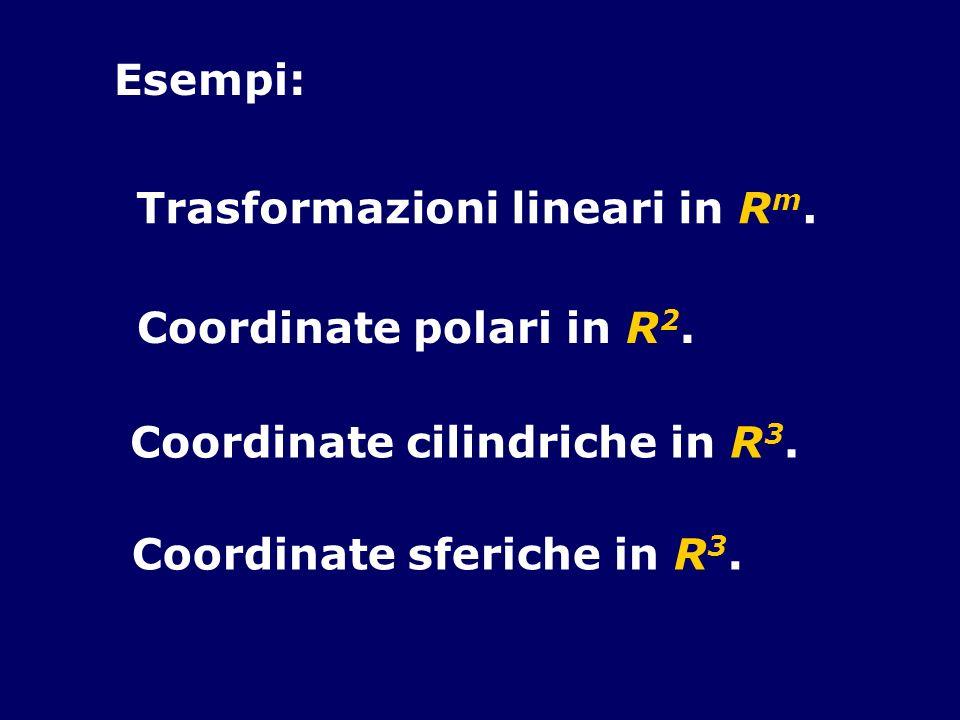 Esempi: Trasformazioni lineari in Rm. Coordinate polari in R2.