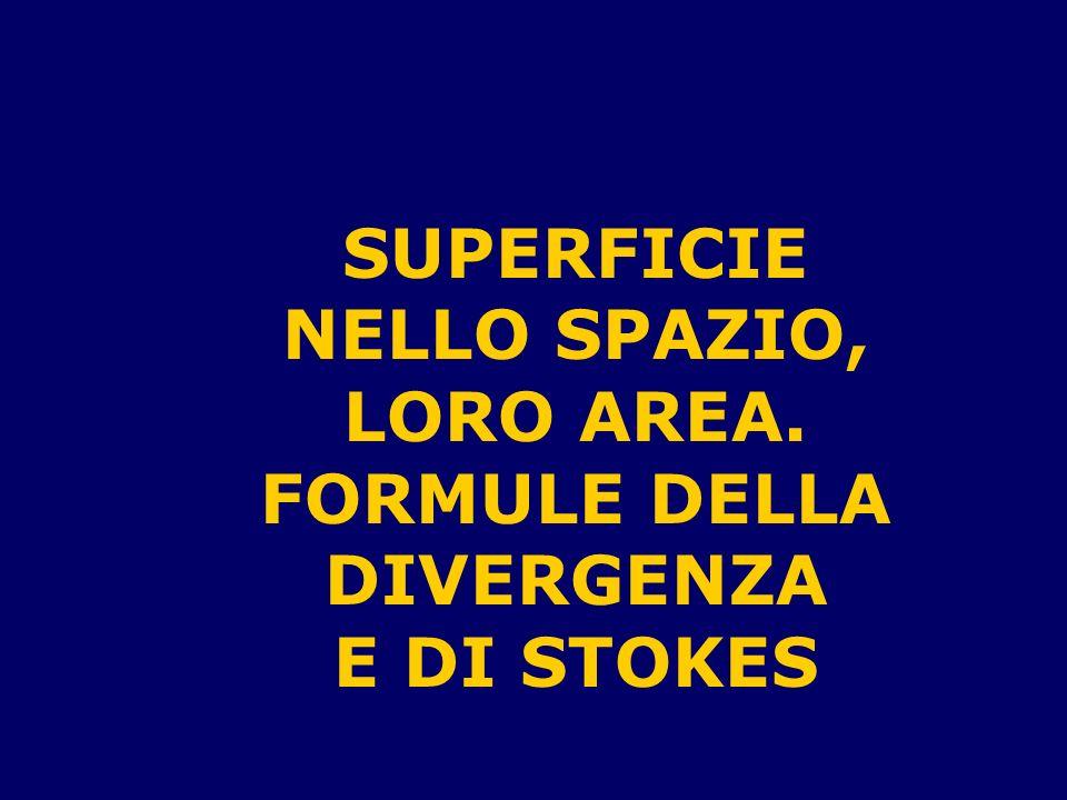 SUPERFICIE NELLO SPAZIO, FORMULE DELLA DIVERGENZA E DI STOKES