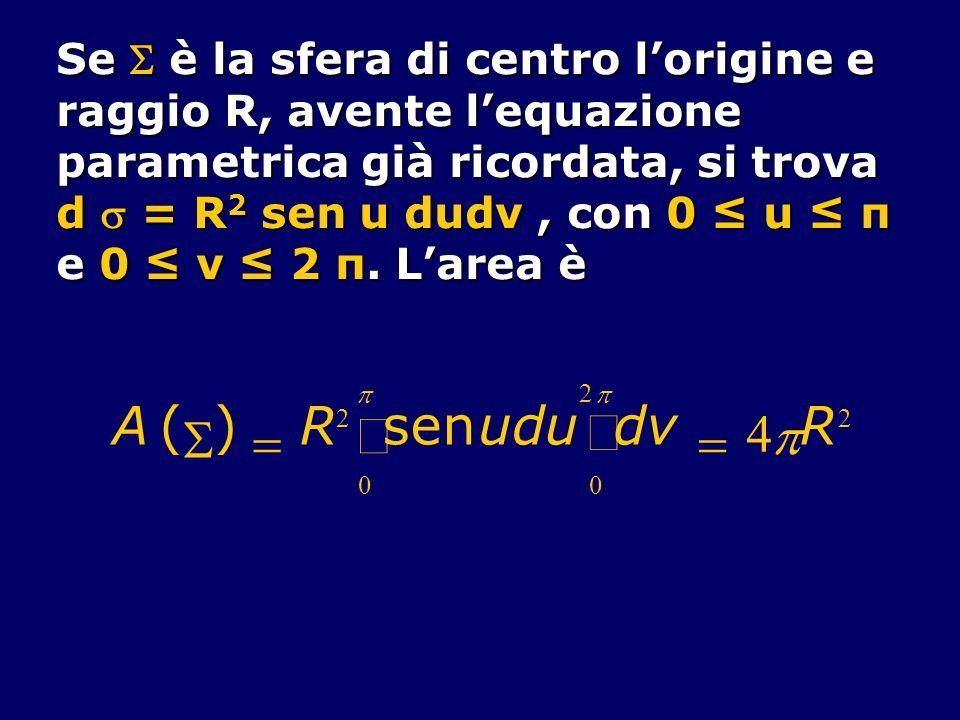 ò A ( S ) = R sen u d v 4 p Se  è la sfera di centro l'origine e
