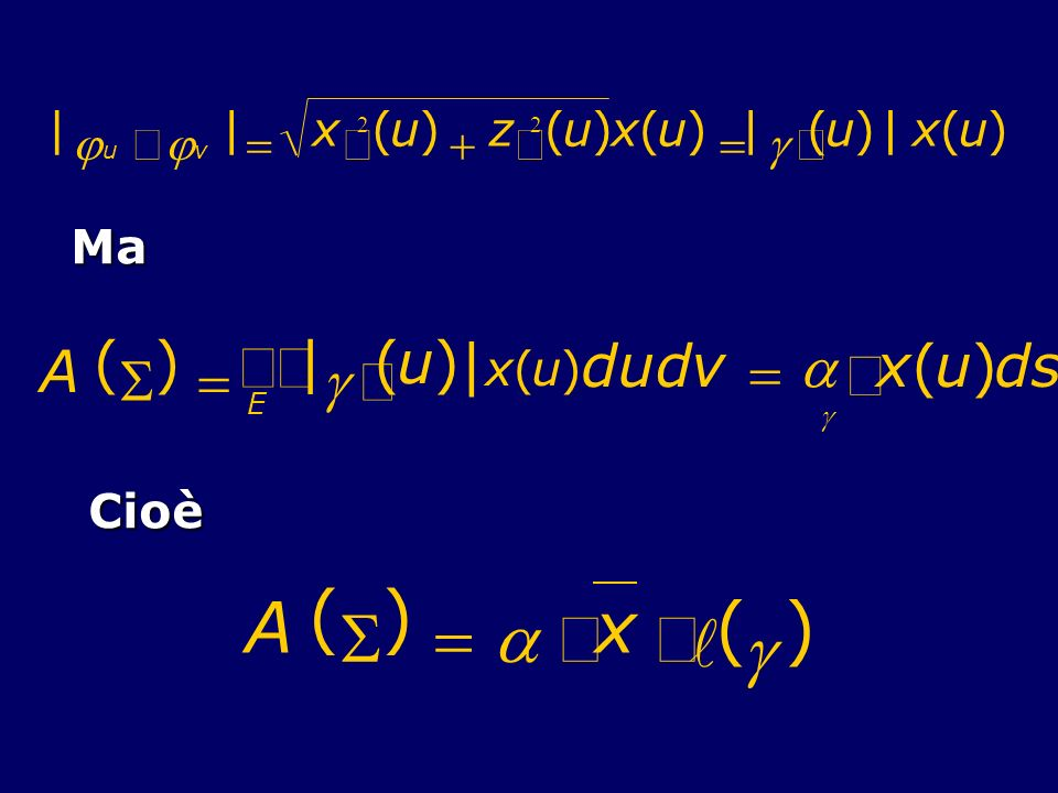 A ( S ) = a × x l g òò ò A ( S ) = | ¢ g u d v a x s | j ´ = ¢ x ( ) +
