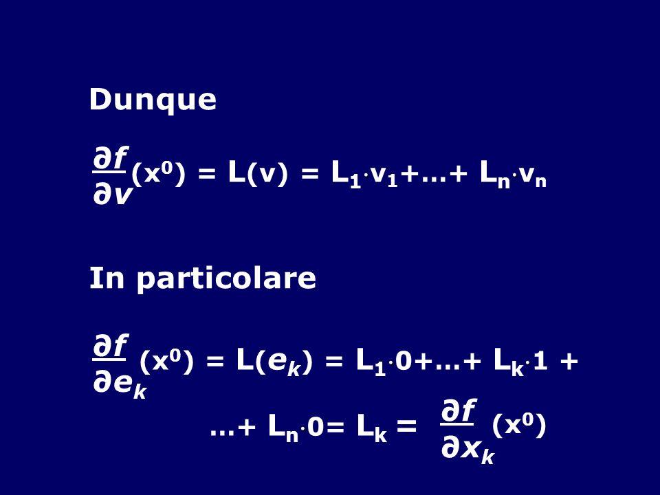 Dunque ∂f ∂v In particolare ∂f ∂ek ∂xk (x0) = L(v) = L1v1+…+ Lnvn
