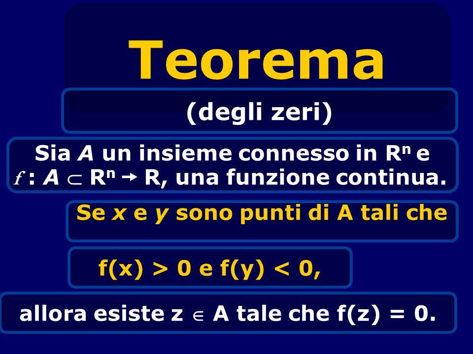 Teorema (degli zeri) Sia A un insieme connesso in Rn e