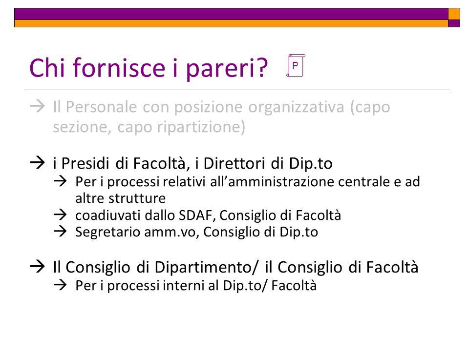 Chi fornisce i pareri P. Il Personale con posizione organizzativa (capo sezione, capo ripartizione)