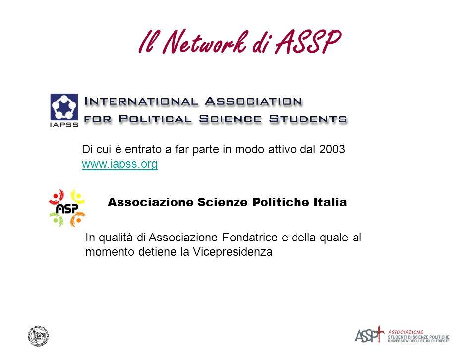 Il Network di ASSP Di cui è entrato a far parte in modo attivo dal 2003. www.iapss.org. Associazione Scienze Politiche Italia.