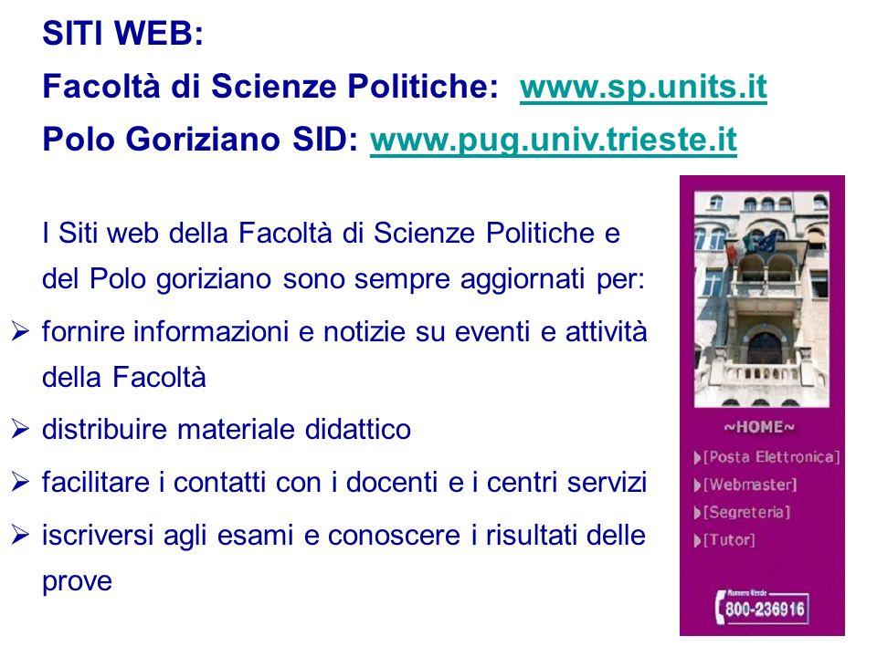 SITI WEB: Facoltà di Scienze Politiche: www. sp. units