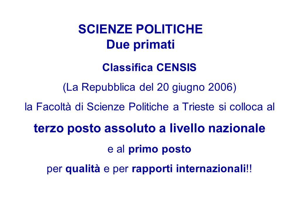 SCIENZE POLITICHE Due primati