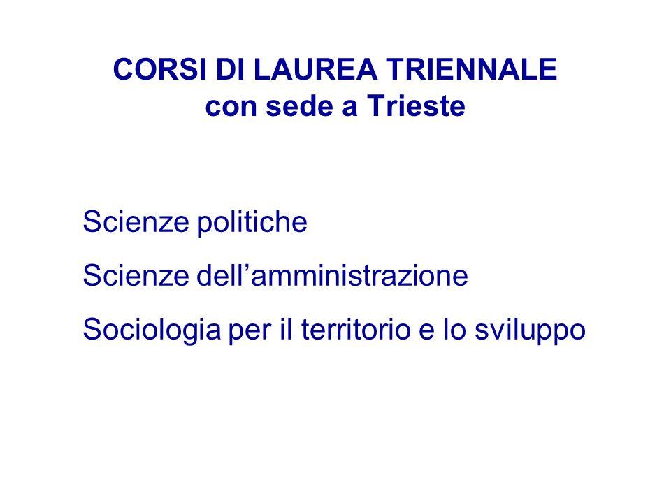 CORSI DI LAUREA TRIENNALE con sede a Trieste