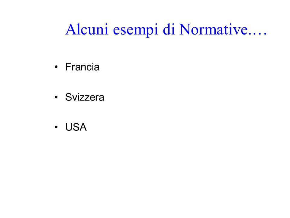 Alcuni esempi di Normative.…
