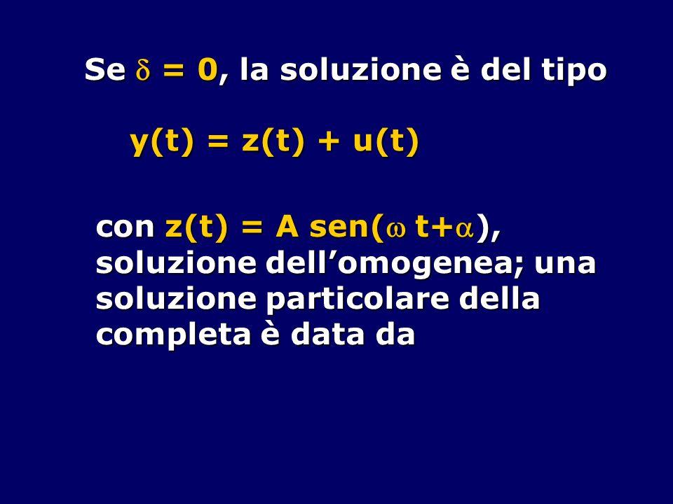 Se  = 0, la soluzione è del tipo