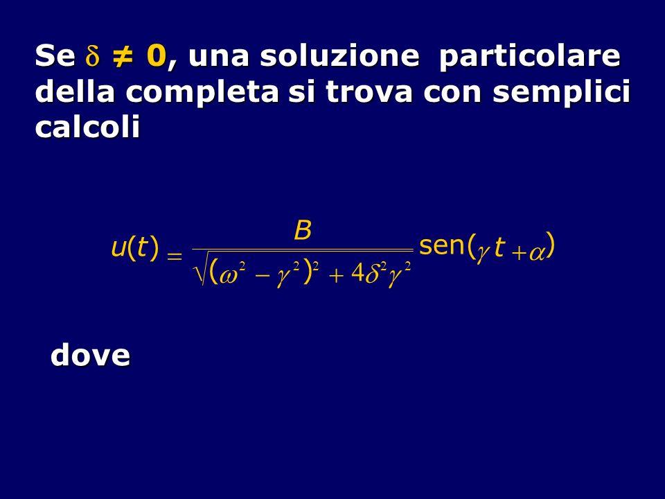 Se  ≠ 0, una soluzione particolare