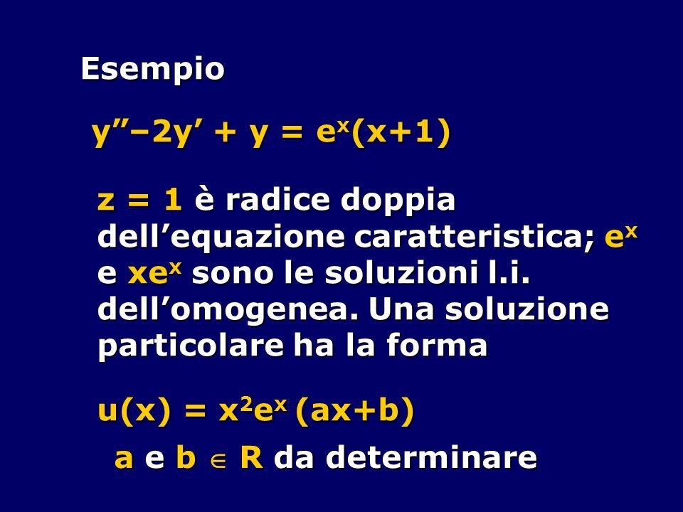Esempioy –2y' + y = ex(x+1) z = 1 è radice doppia. dell'equazione caratteristica; ex. e xex sono le soluzioni l.i.