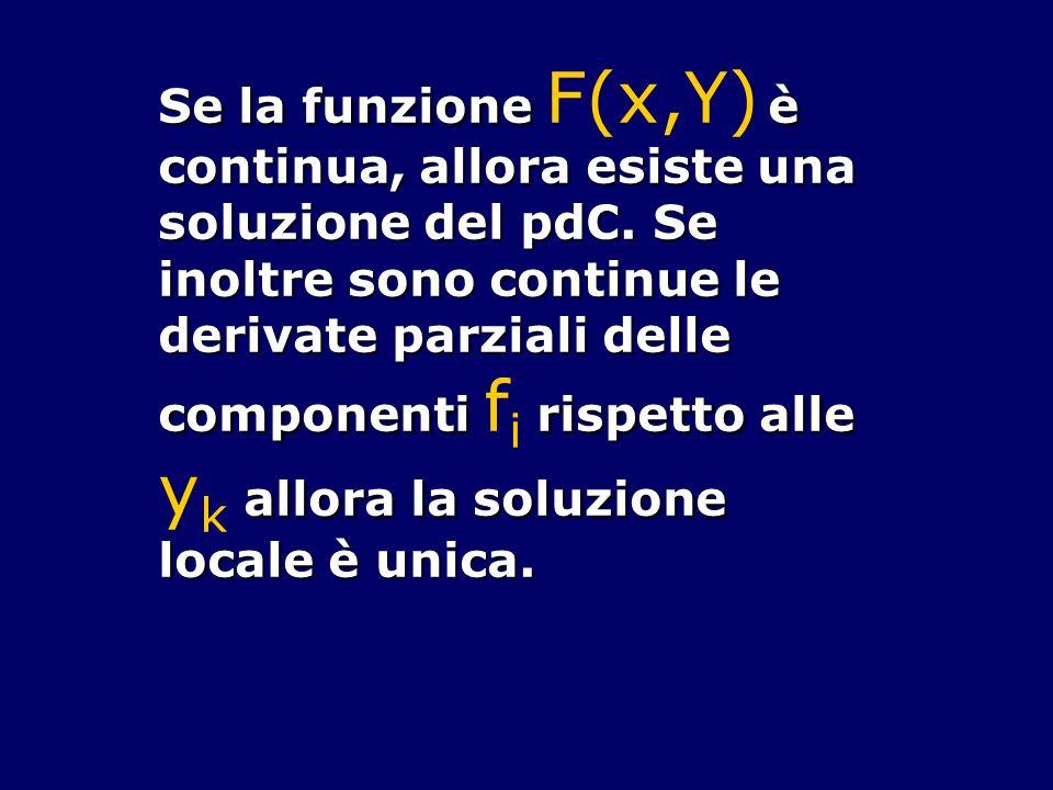 Se la funzione F(x,Y) è continua, allora esiste una soluzione del pdC