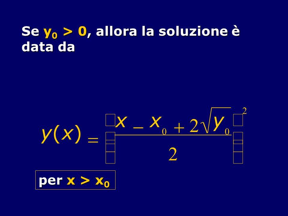 y ( x ) = - + 2 æ è ç ö ø ÷ Se y0 > 0, allora la soluzione è