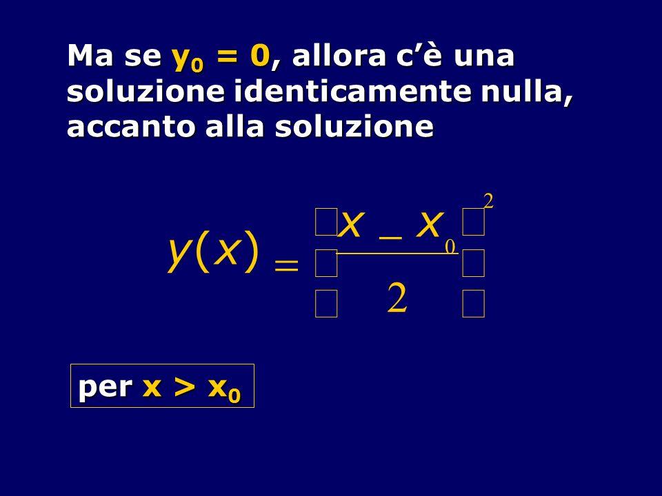 y ( x ) = - 2 æ è ç ö ø ÷ Ma se y0 = 0, allora c'è una