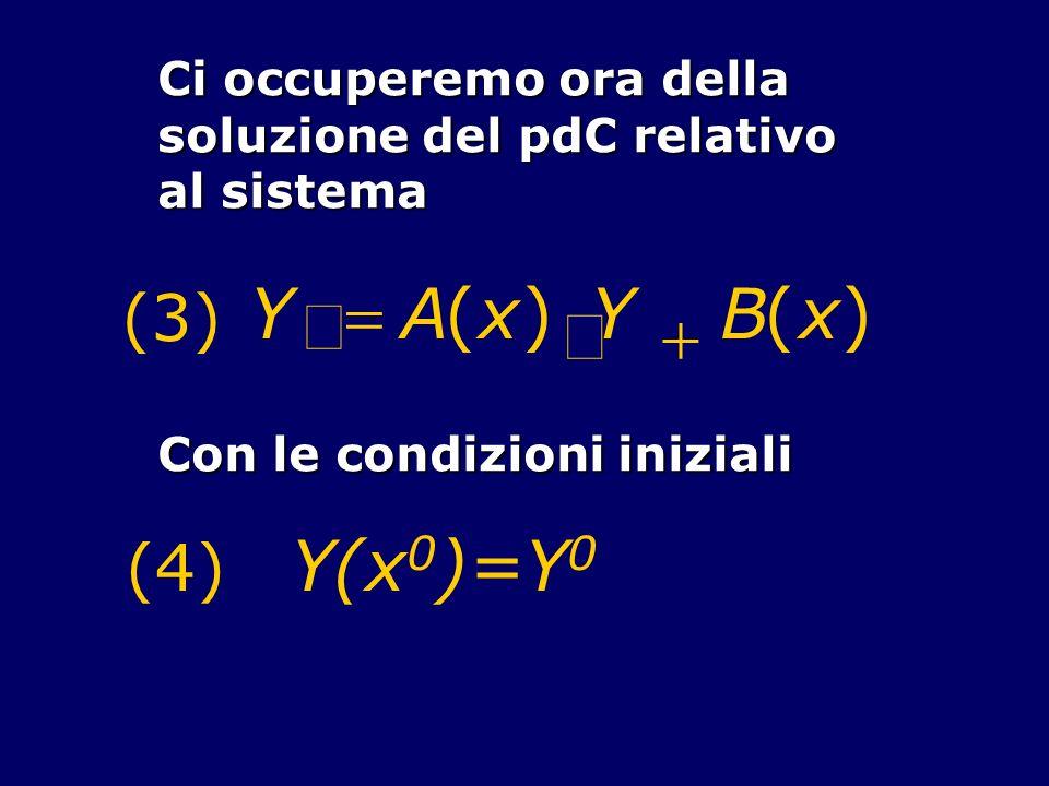 ¢ Y = A ( x ) × + B (3) (4) Y(x0)=Y0 Ci occuperemo ora della