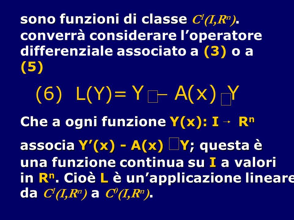 ¢ Y - A ( x ) × (6) L(Y)= sono funzioni di classe C1(I,Rn).